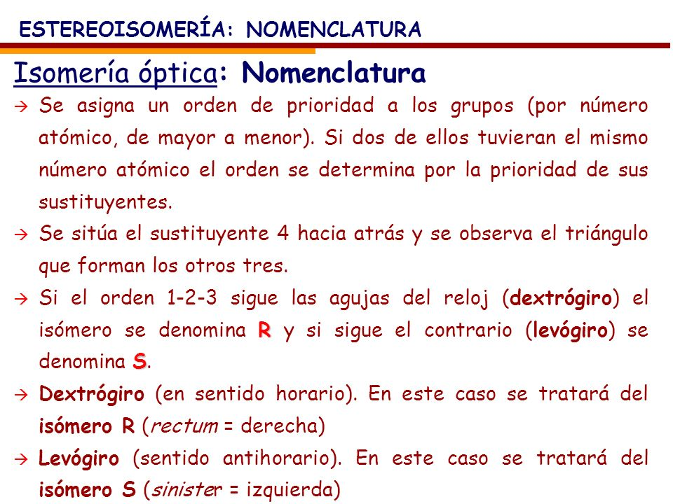 Isomería óptica: Nomenclatura