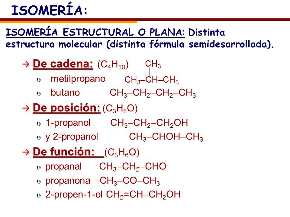ISOMERÍA: De cadena: (C4H10) De posición: (C3H8O) De función: (C3H6O)