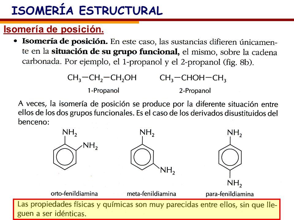 ISOMERÍA ESTRUCTURAL Isomería de posición.