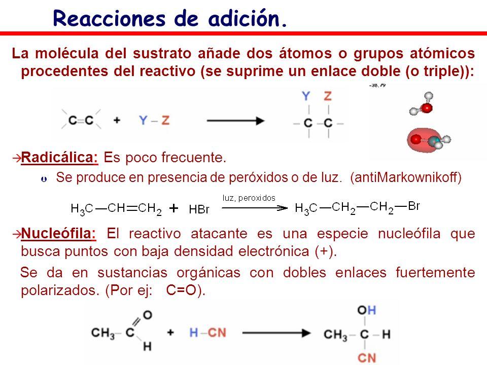 Reacciones de adición. La molécula del sustrato añade dos átomos o grupos atómicos procedentes del reactivo (se suprime un enlace doble (o triple)):