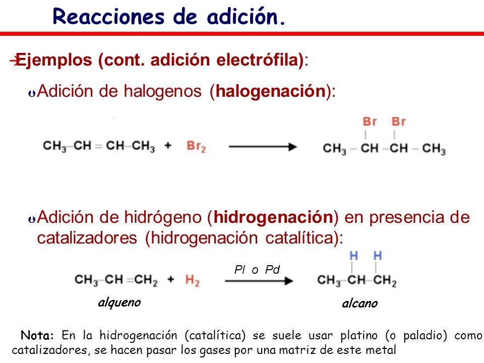 Reacciones de adición. Ejemplos (cont. adición electrófila):