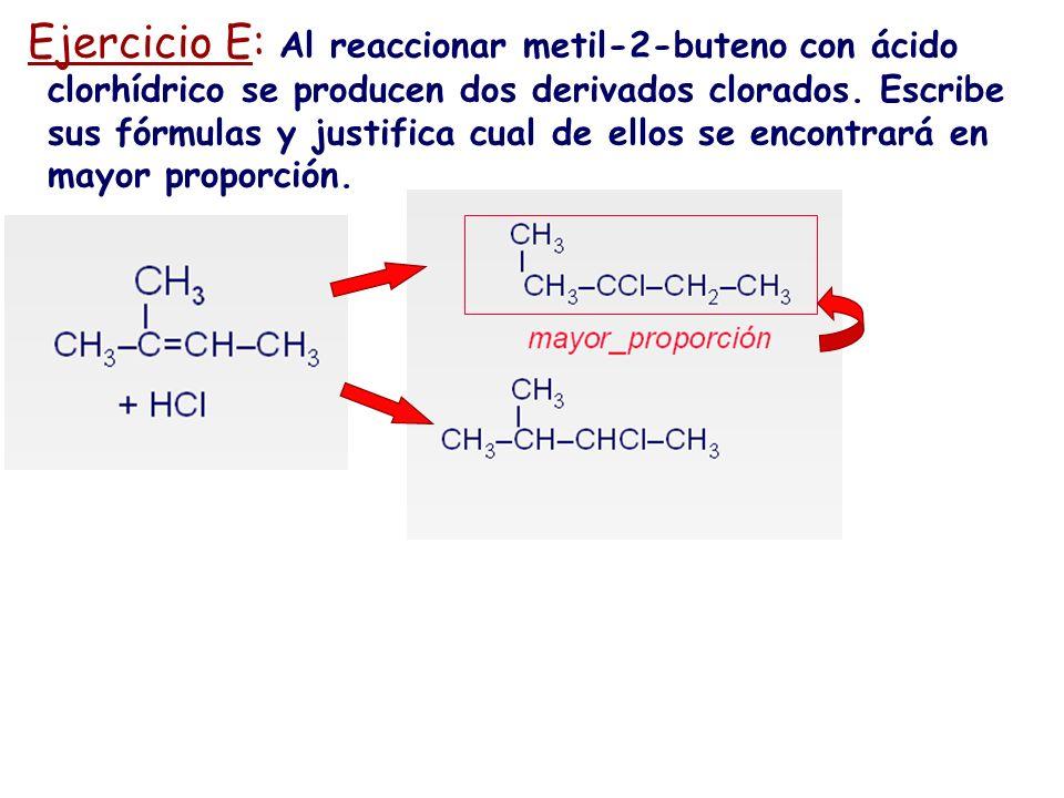 Ejercicio E: Al reaccionar metil-2-buteno con ácido clorhídrico se producen dos derivados clorados.