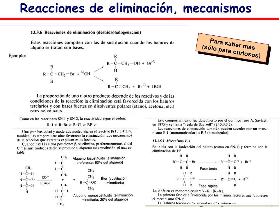 Reacciones de eliminación, mecanismos