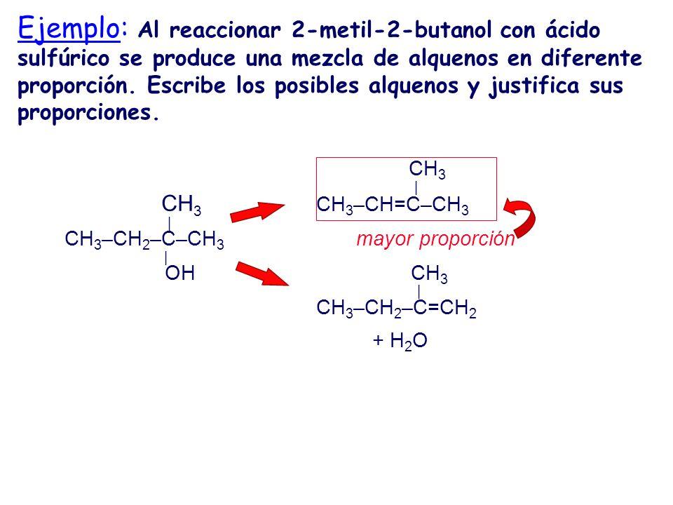 Ejemplo: Al reaccionar 2-metil-2-butanol con ácido sulfúrico se produce una mezcla de alquenos en diferente proporción. Escribe los posibles alquenos y justifica sus proporciones.