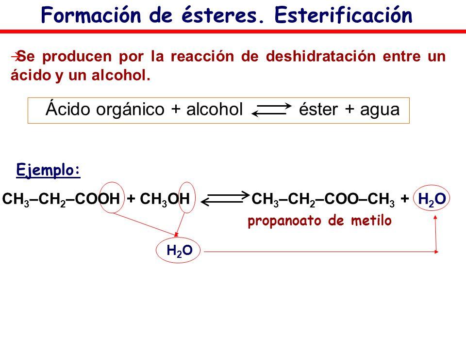 Formación de ésteres. Esterificación