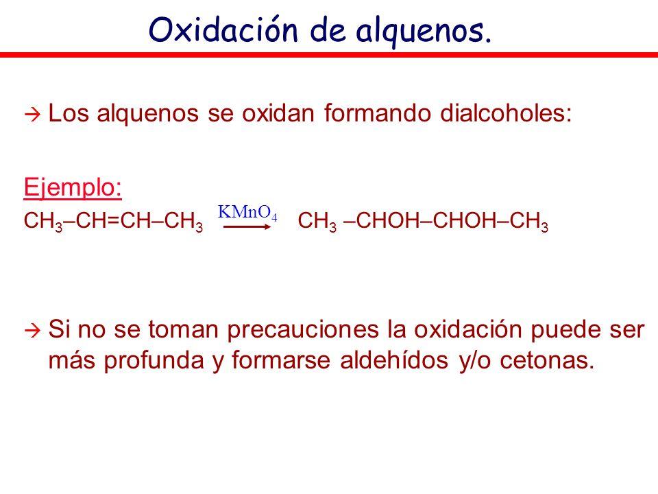 Oxidación de alquenos. Los alquenos se oxidan formando dialcoholes: