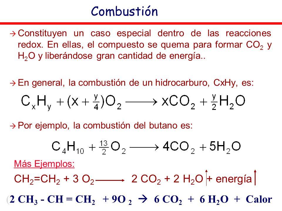 (2 CH3 - CH = CH2 + 9O 2  6 CO2 + 6 H2O + Calor