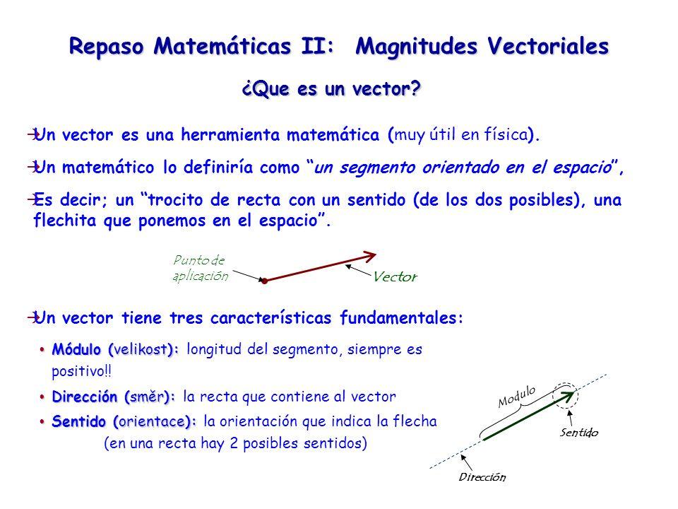 Repaso Matemáticas II: Magnitudes Vectoriales