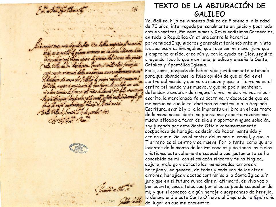 TEXTO DE LA ABJURACIÓN DE GALILEO
