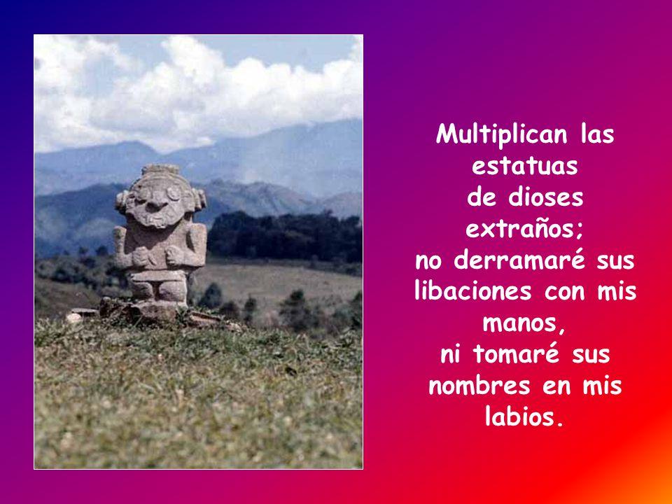 Multiplican las estatuas de dioses extraños; no derramaré sus libaciones con mis manos, ni tomaré sus nombres en mis labios.