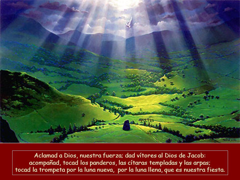 Aclamad a Dios, nuestra fuerza; dad vítores al Dios de Jacob: acompañad, tocad los panderos, las cítaras templadas y las arpas; tocad la trompeta por la luna nueva, por la luna llena, que es nuestra fiesta.