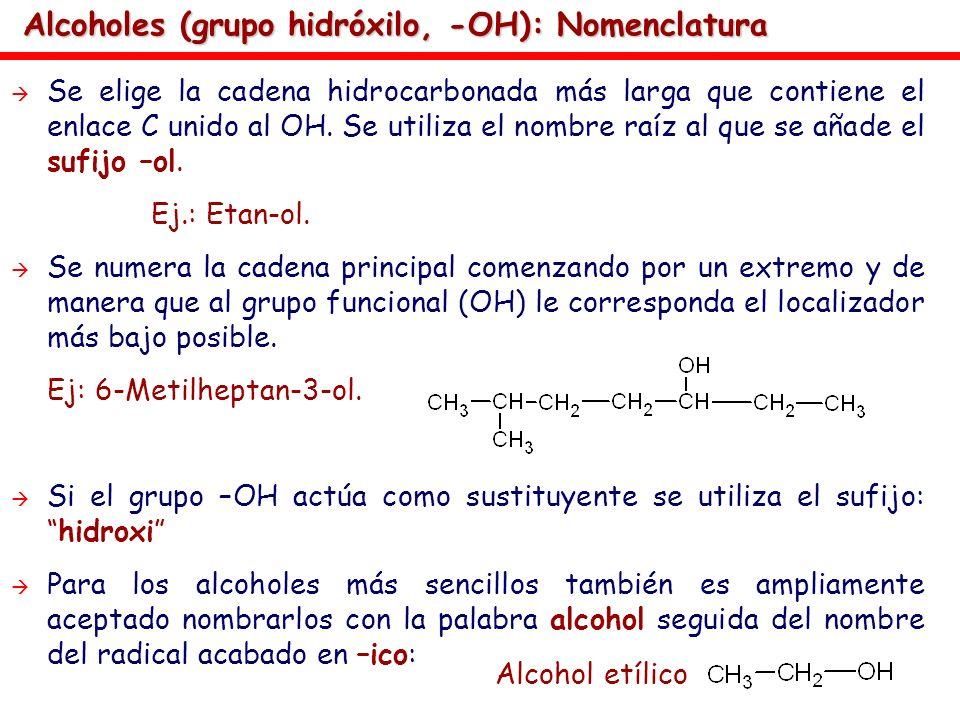 Alcoholes (grupo hidróxilo, -OH): Nomenclatura
