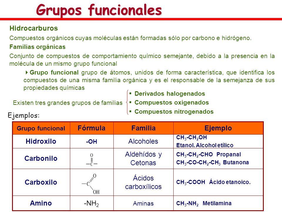 Grupos funcionales Hidrocarburos Ejemplos: Ácidos carboxílicos