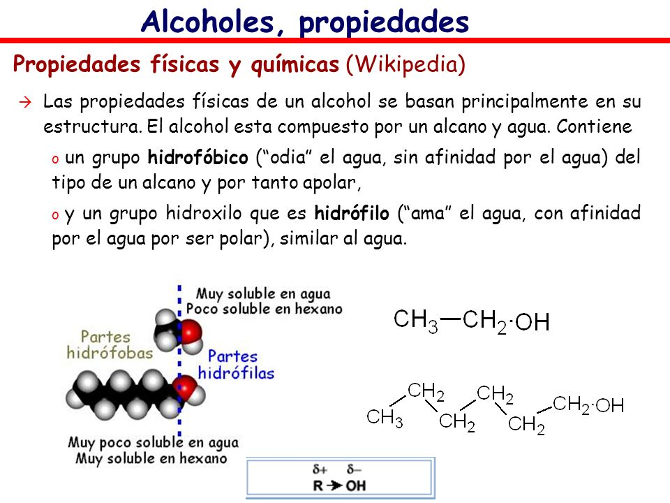 Alcoholes, propiedades