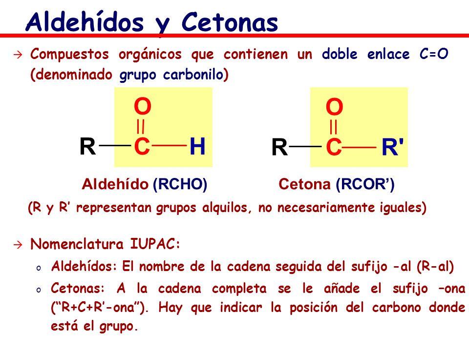 Aldehídos y Cetonas R C H O R C O Aldehído (RCHO) Cetona (RCOR')