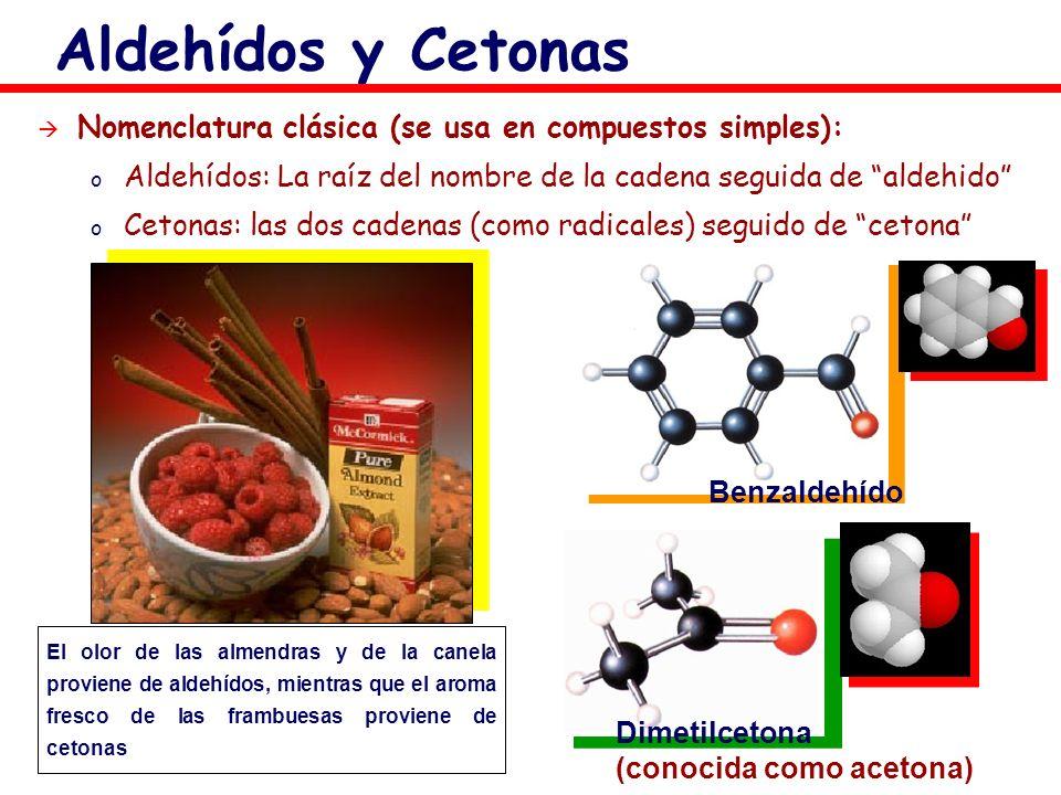 Aldehídos y Cetonas Nomenclatura clásica (se usa en compuestos simples): Aldehídos: La raíz del nombre de la cadena seguida de aldehido
