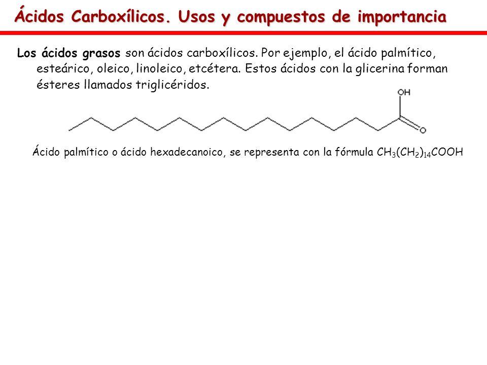 Ácidos Carboxílicos. Usos y compuestos de importancia