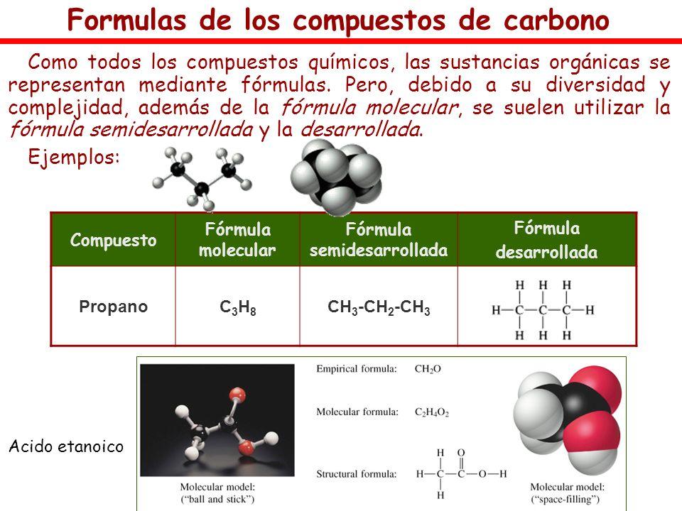 Formulas de los compuestos de carbono