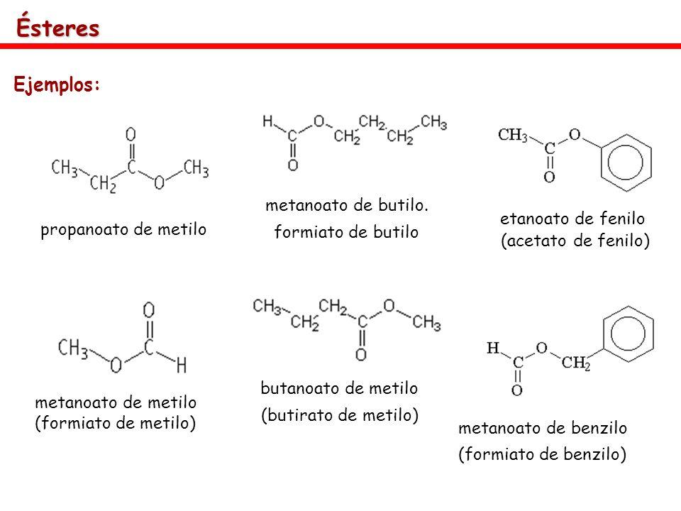 Ésteres Ejemplos: metanoato de butilo. formiato de butilo