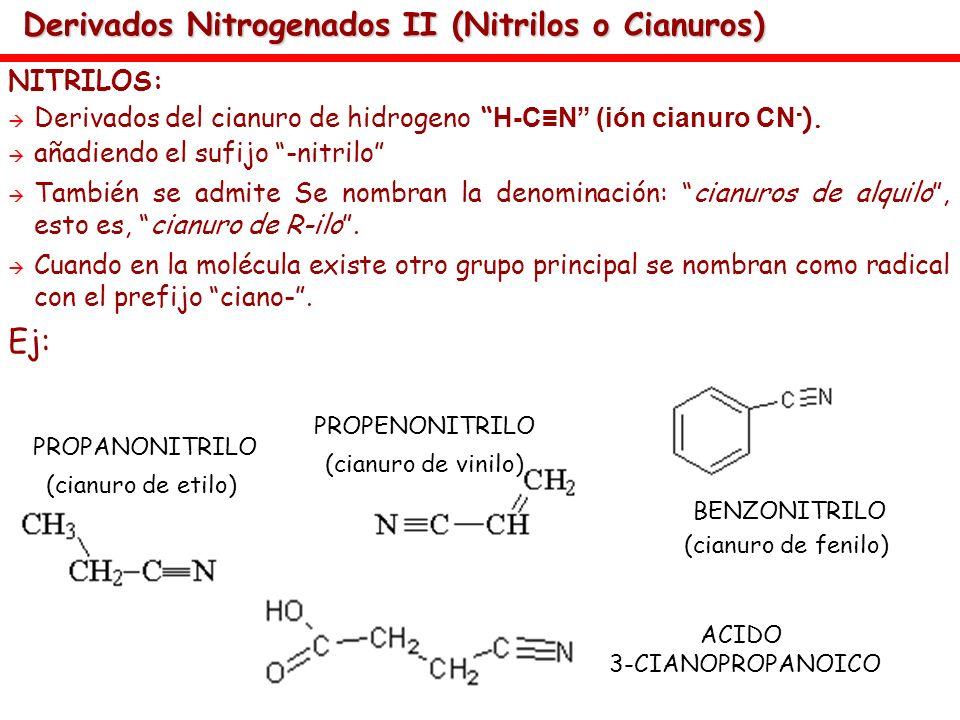 Derivados Nitrogenados II (Nitrilos o Cianuros)