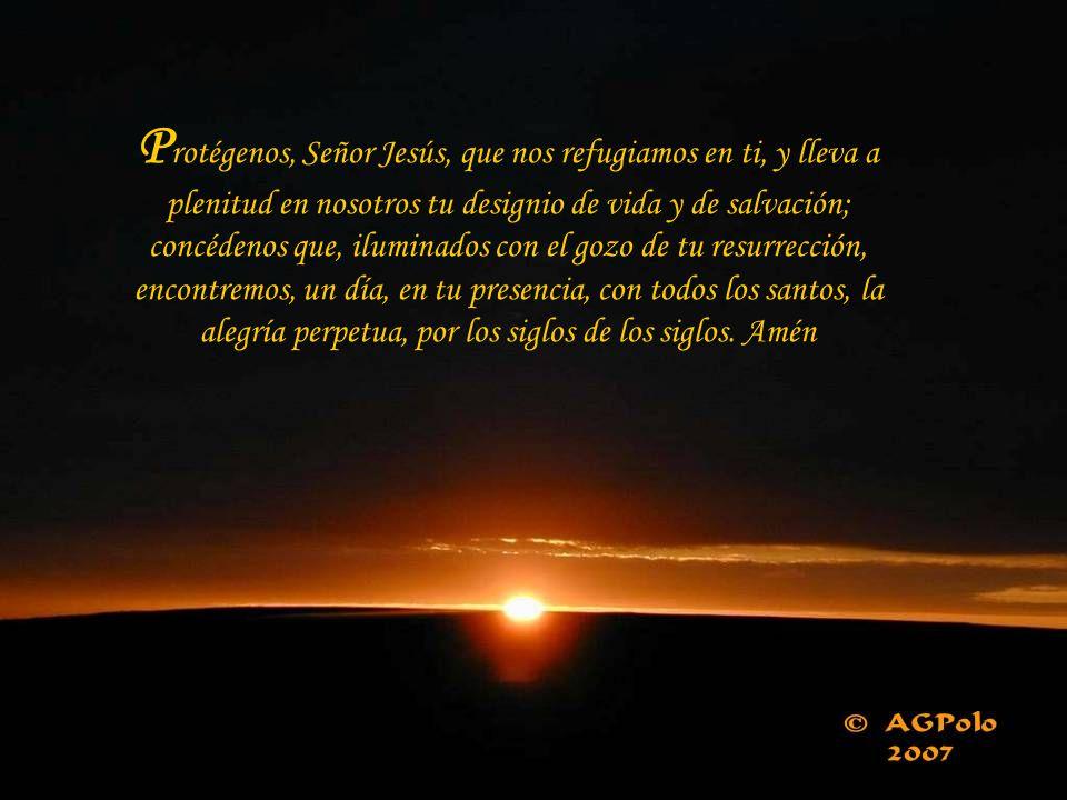 Protégenos, Señor Jesús, que nos refugiamos en ti, y lleva a plenitud en nosotros tu designio de vida y de salvación; concédenos que, iluminados con el gozo de tu resurrección, encontremos, un día, en tu presencia, con todos los santos, la alegría perpetua, por los siglos de los siglos.
