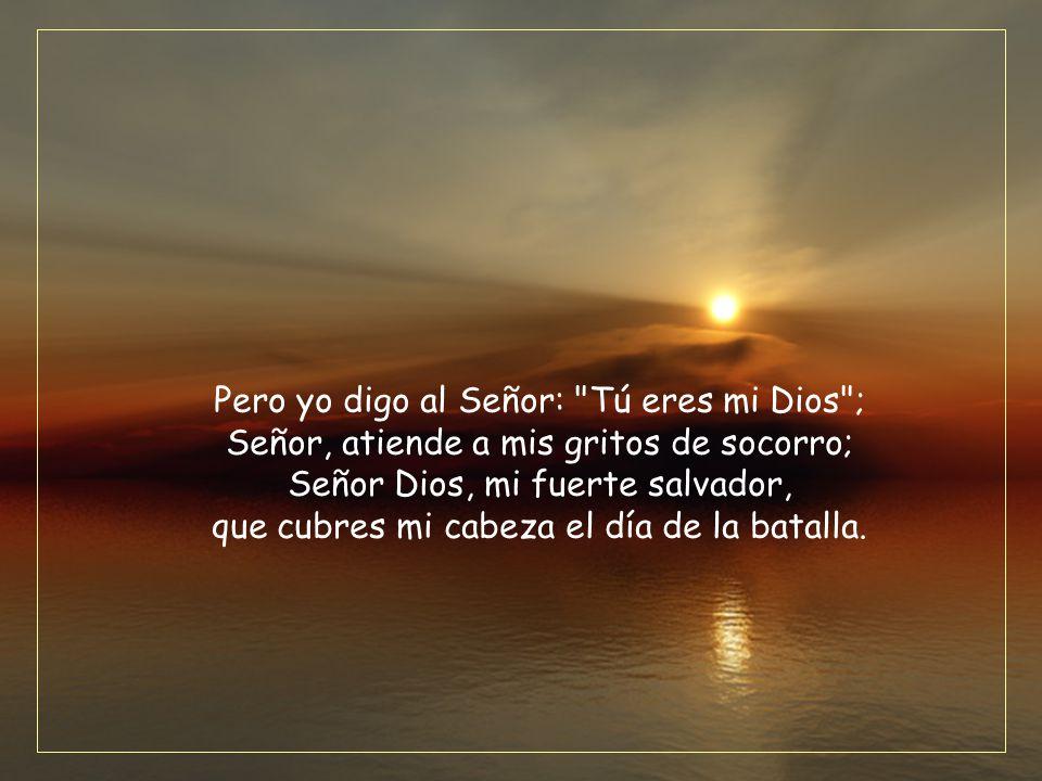 Pero yo digo al Señor: Tú eres mi Dios ; Señor, atiende a mis gritos de socorro; Señor Dios, mi fuerte salvador, que cubres mi cabeza el día de la batalla.