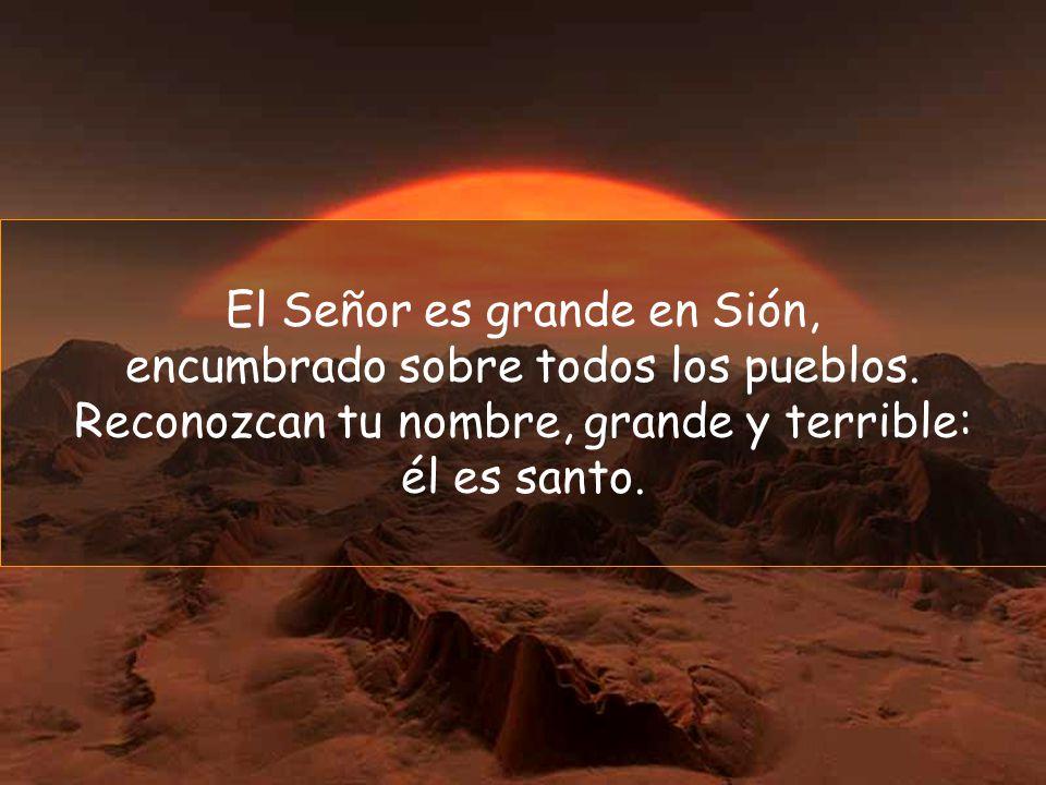 El Señor es grande en Sión, encumbrado sobre todos los pueblos.