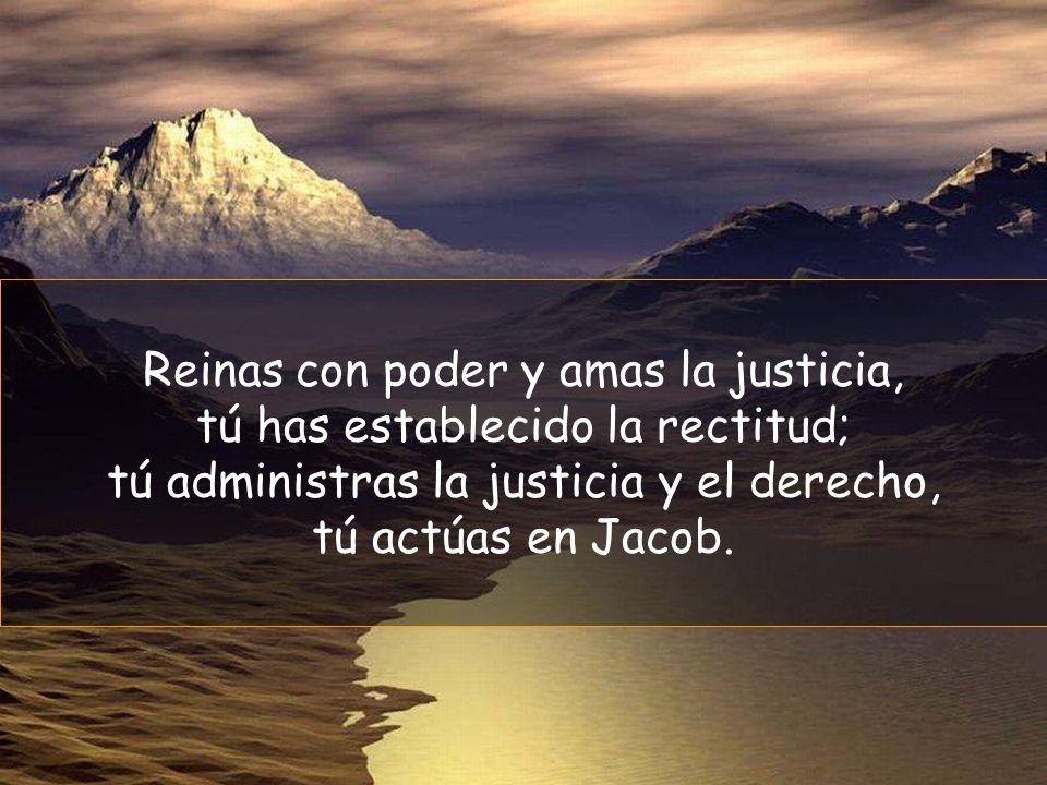 Reinas con poder y amas la justicia, tú has establecido la rectitud;