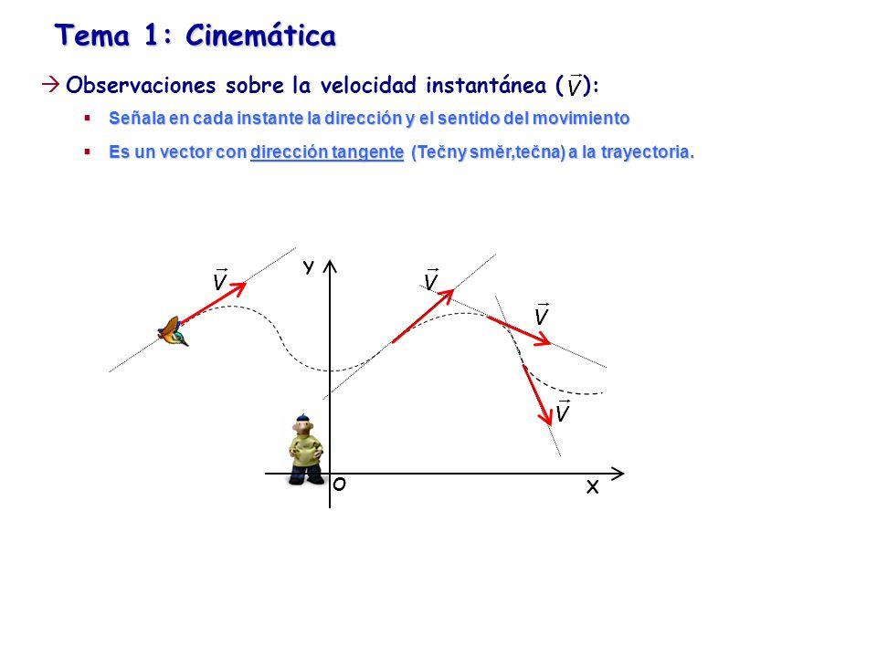 Tema 1: Cinemática Observaciones sobre la velocidad instantánea ( ):