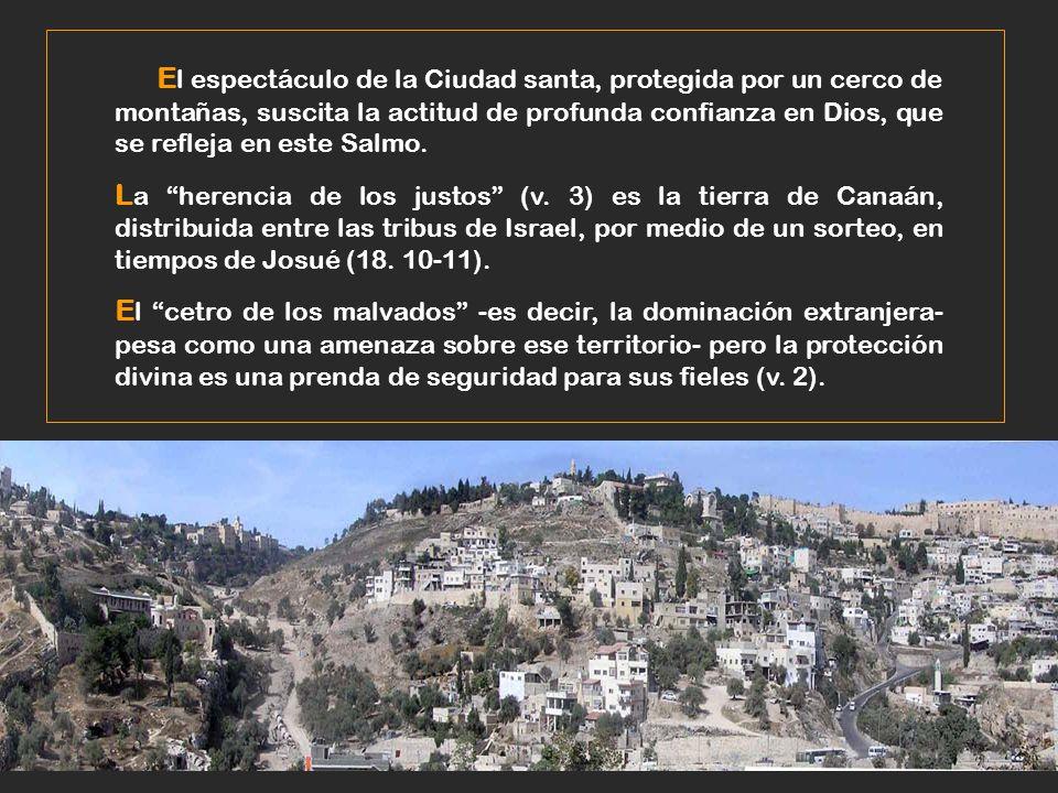 El espectáculo de la Ciudad santa, protegida por un cerco de montañas, suscita la actitud de profunda confianza en Dios, que se refleja en este Salmo.