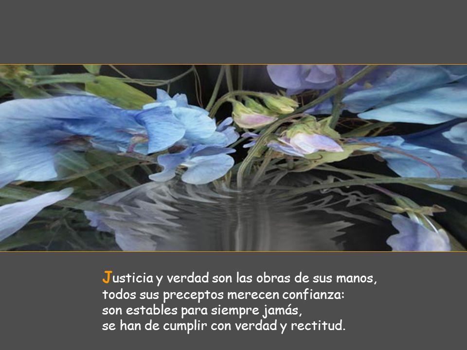 Justicia y verdad son las obras de sus manos, todos sus preceptos merecen confianza: son estables para siempre jamás, se han de cumplir con verdad y rectitud.