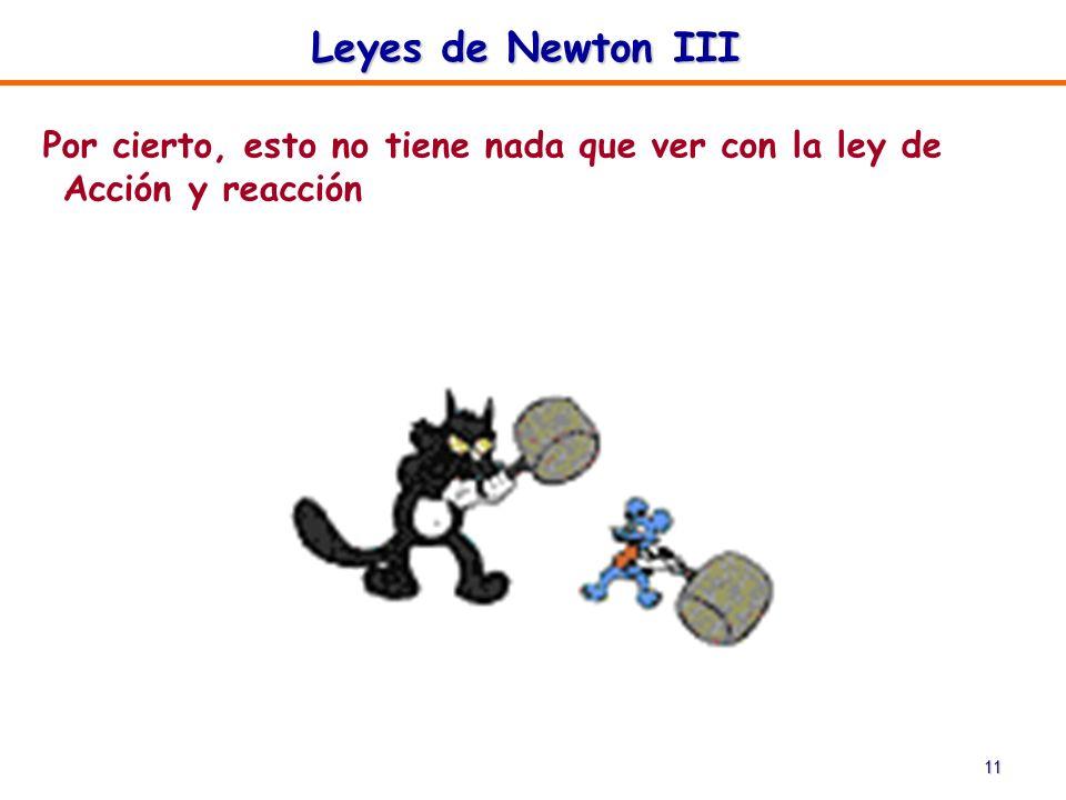Leyes de Newton III Por cierto, esto no tiene nada que ver con la ley de Acción y reacción