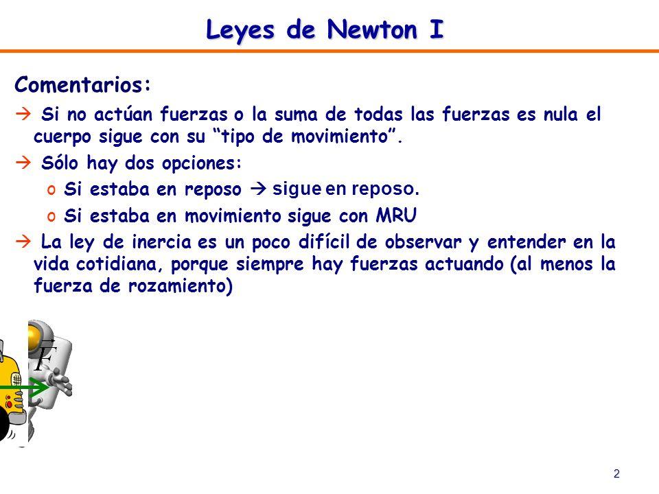 Leyes de Newton I Comentarios: