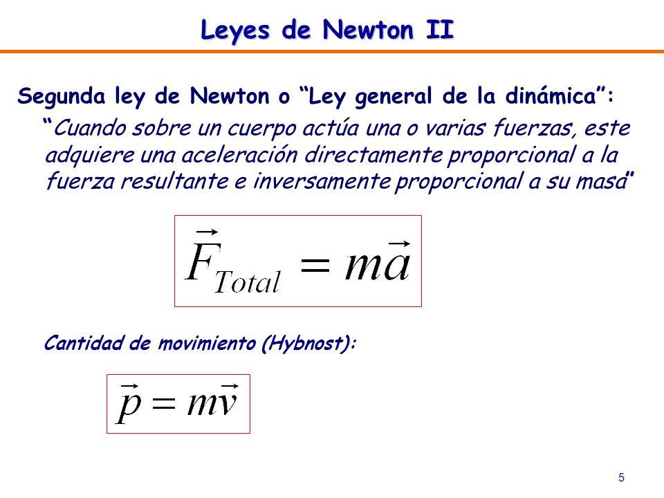 Leyes de Newton II Segunda ley de Newton o Ley general de la dinámica :