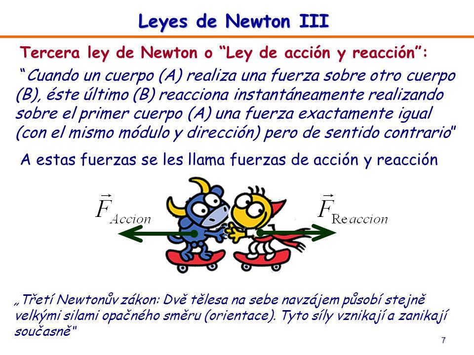 Leyes de Newton III Tercera ley de Newton o Ley de acción y reacción :