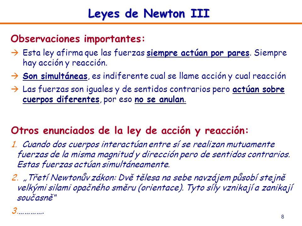 Leyes de Newton III Observaciones importantes: