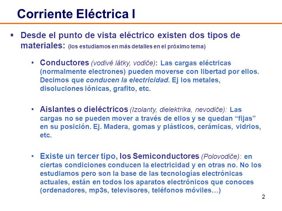 Corriente Eléctrica I Desde el punto de vista eléctrico existen dos tipos de materiales: (los estudiamos en más detalles en el próximo tema)