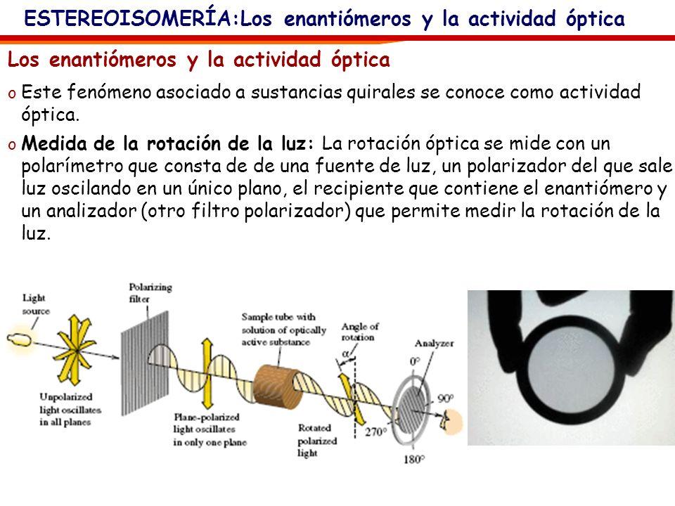 ESTEREOISOMERÍA:Los enantiómeros y la actividad óptica