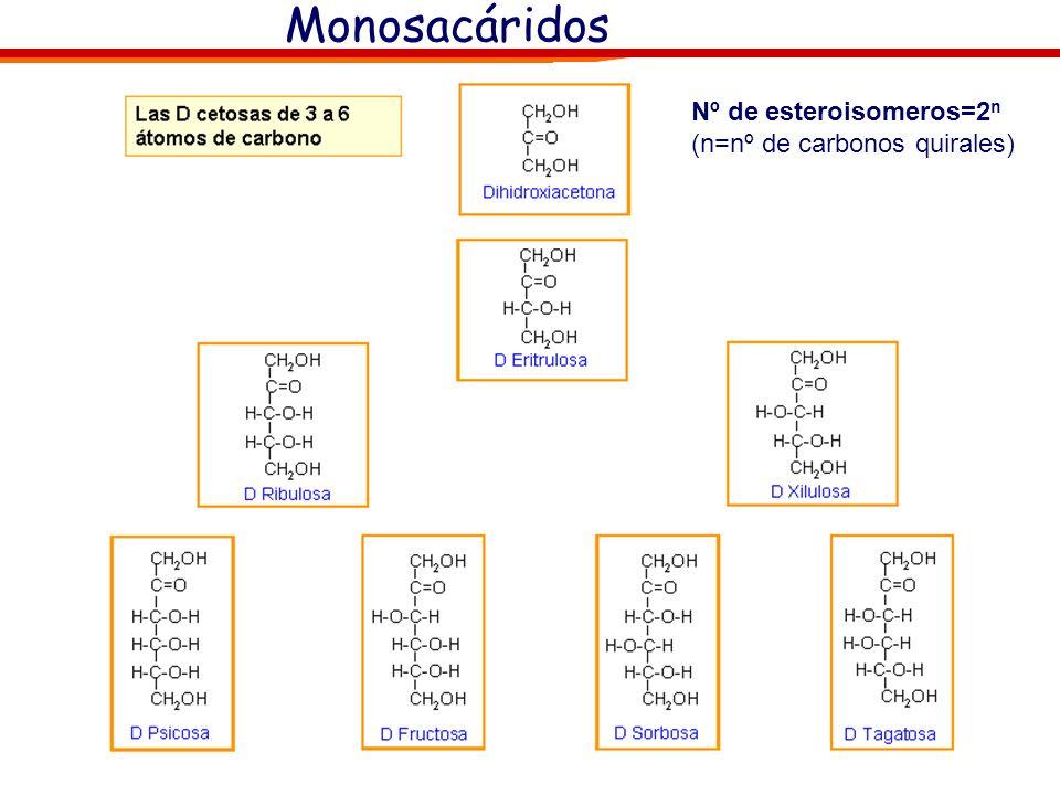 Monosacáridos Nº de esteroisomeros=2n (n=nº de carbonos quirales)
