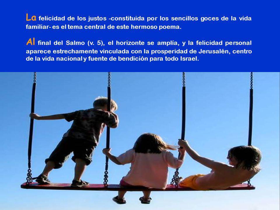 La felicidad de los justos -constituida por los sencillos goces de la vida familiar- es el tema central de este hermoso poema.