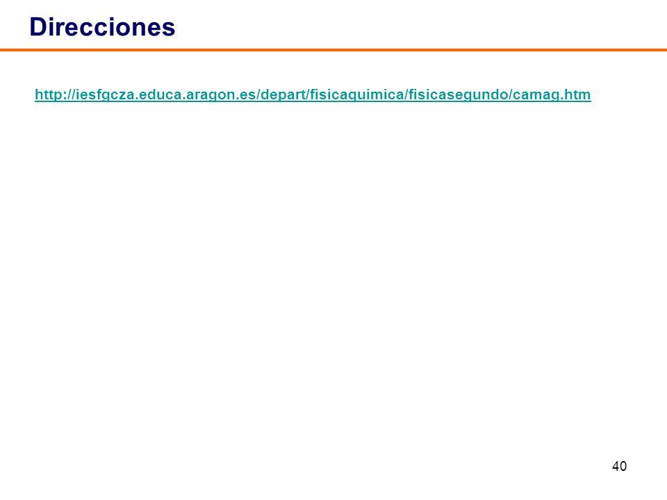 Direcciones http://iesfgcza.educa.aragon.es/depart/fisicaquimica/fisicasegundo/camag.htm