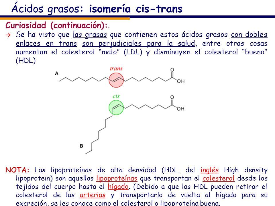 Ácidos grasos: isomería cis-trans