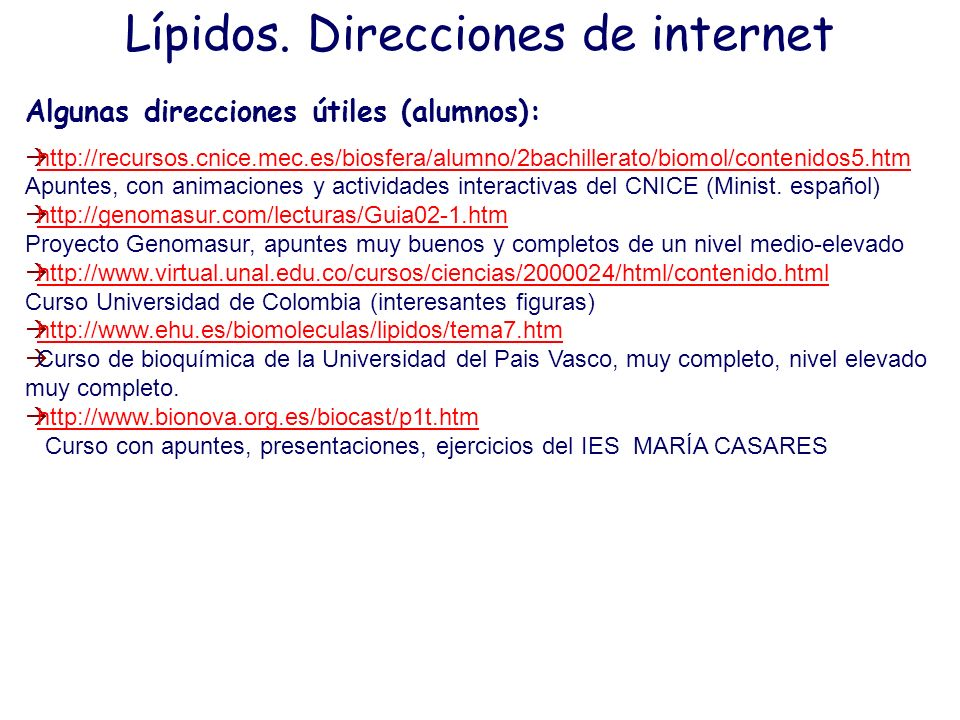Lípidos. Direcciones de internet
