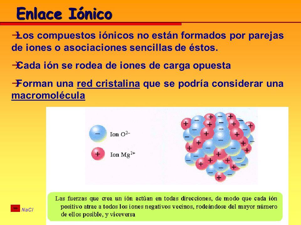Enlace Iónico Los compuestos iónicos no están formados por parejas de iones o asociaciones sencillas de éstos.