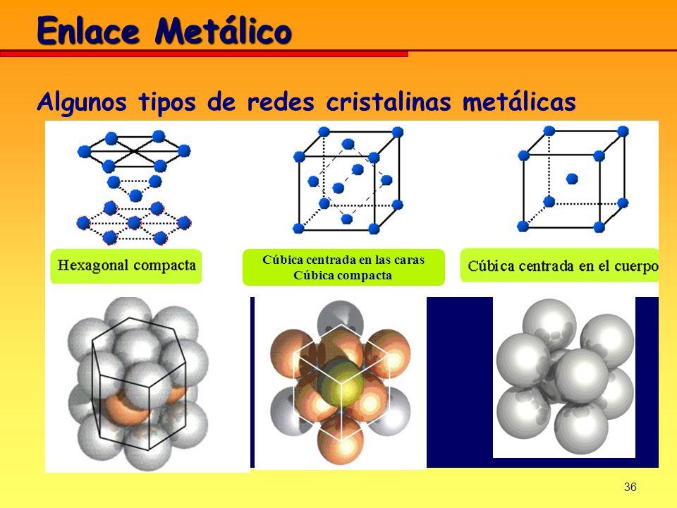 Algunos tipos de redes cristalinas metálicas