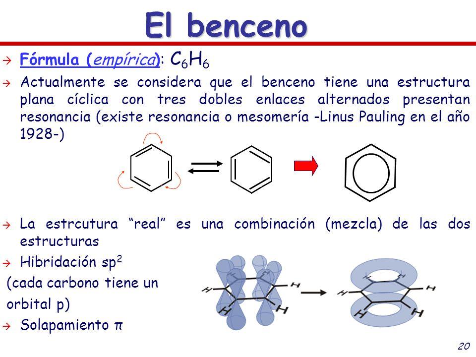 El benceno Fórmula (empírica): C6H6