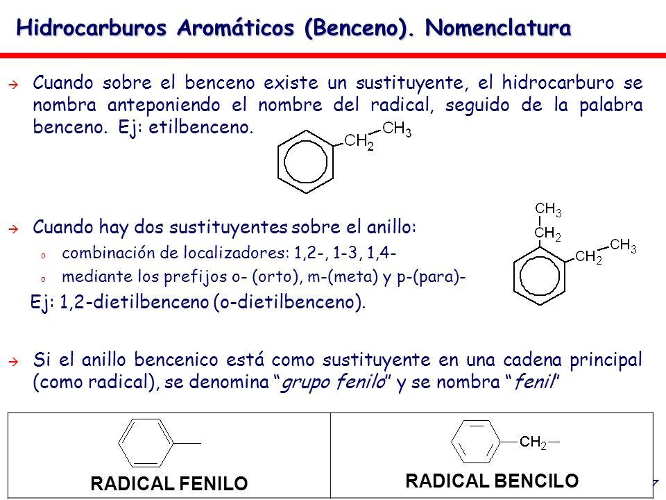 Hidrocarburos Aromáticos (Benceno). Nomenclatura