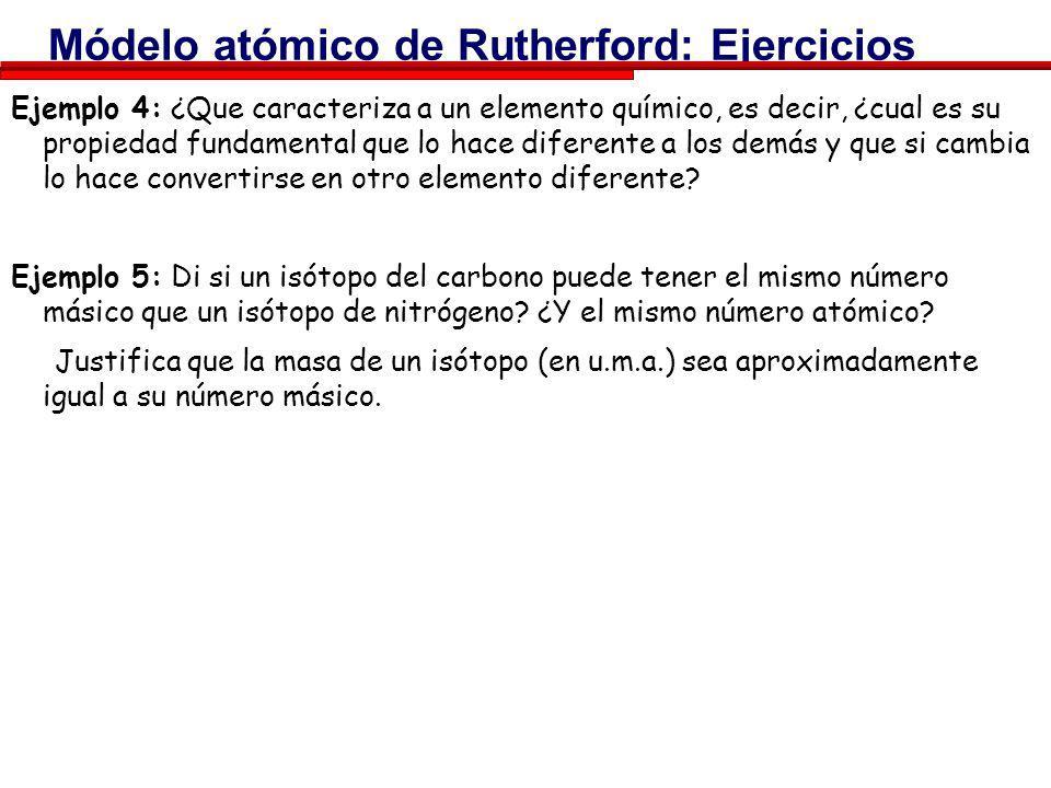 Módelo atómico de Rutherford: Ejercicios