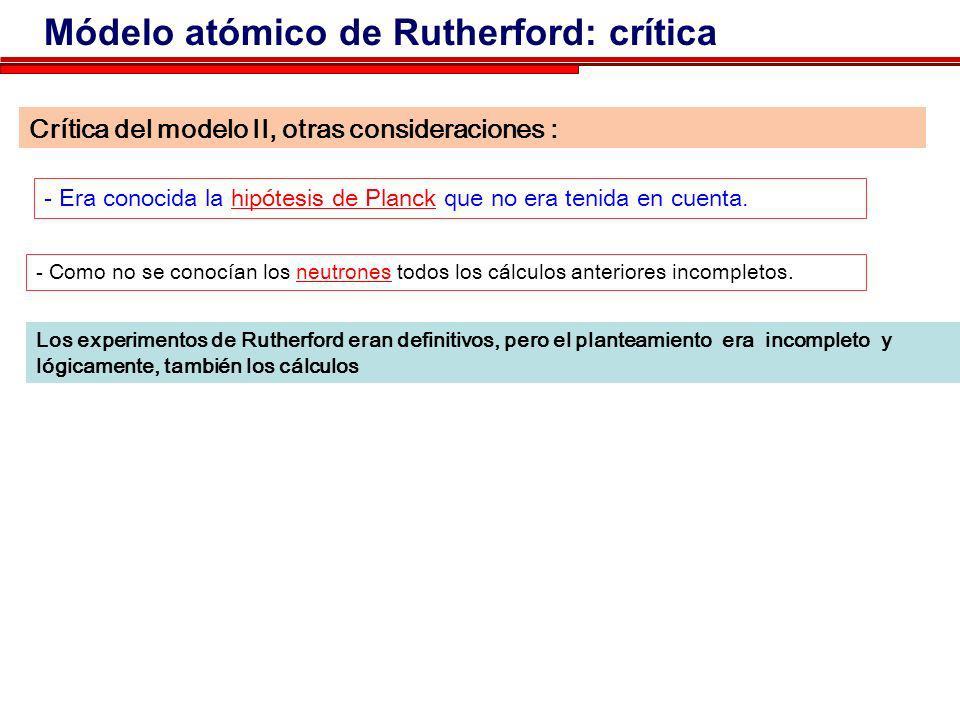 Módelo atómico de Rutherford: crítica