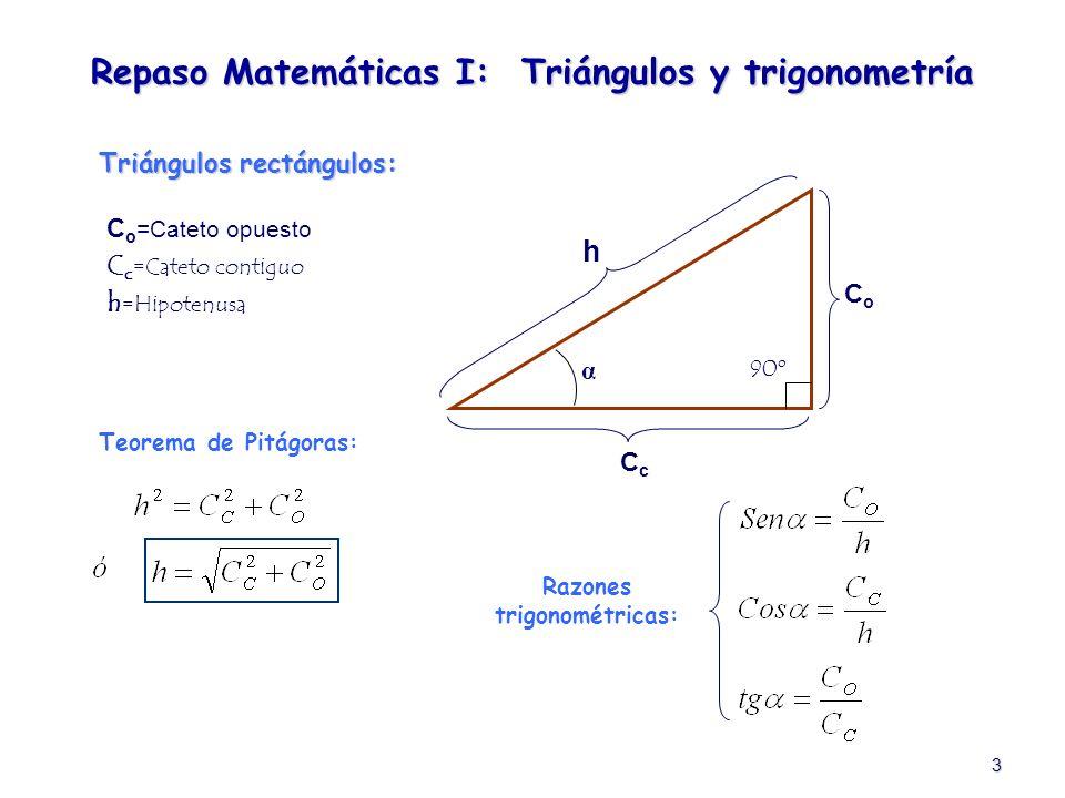 Repaso Matemáticas I: Triángulos y trigonometría